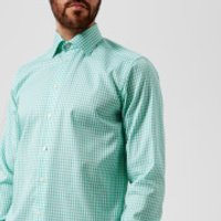 Eton Men's Contemporary Fit Extreme Cut Away Gingham Check Shirt - Light Green - 16  - Light Green