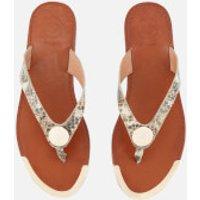 Dune Womens Lagos Leather Toe Post Sandals - Natural Reptile - UK 5 - Brown