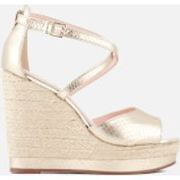 Dune Womens Kandis Leather Wedged Sandals - Gold - UK 7 - Gold