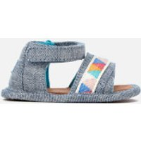 TOMS Babies Shiloh Sandals  Blue Slub ChambrayTribal  UK 3 Baby  Blue