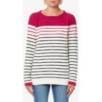 Joules Women's Seaham Textured Breton Sweatshirt - Navy Berry Stripe - UK 8 - Multi