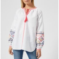 Joules Women's Yolanda Long Sleeve Embroidered Shirt - Bright White - UK 10 - White