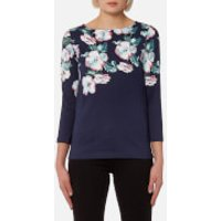 Joules Womens Harbour Print Jersey Top - Navy Poppy - UK 14 - Navy