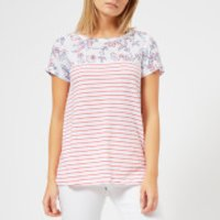 Joules Women's Suzy Jersey/Woven Mix T-Shirt - White Indienne Floral - UK 12 - White