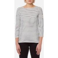 Joules Women's Harbour Jersey Top - Cream Navy Stripe - UK 14 - Cream