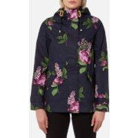 Joules Women's Coast Print Waterproof Hooded Jacket - Navy Floral - UK 12 - Navy