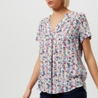 Joules Women's Iona Short Sleeve Blouse - Cream Garden Ditsy - UK 8 - Multi