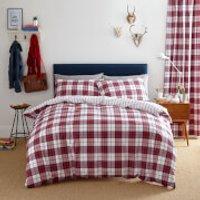 Catherine Lansfield Henley Check Duvet Set - Single - Red