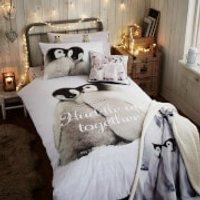 Catherine Lansfield Snuggly Penguins Duvet Set - Single - Multi - Penguins Gifts