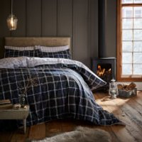 Catherine Lansfield Tartan Check Duvet Set - Navy - Single - Blue