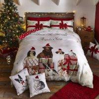 Catherine Lansfield Christmas Party Animals Duvet Set - Single - Gold