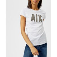 Armani Exchange Womens Glitter Logo T-Shirt - White - L - White