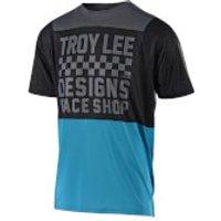 Troy Lee Designs Skyline Air Short Sleeved Checker Jersey - Ocean/Black - S - Blue/Black