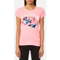 Superdry Women's Stacker Flock Aop Entry T-Shirt - Fluro Pink Snowy - M - Pink