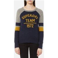 Superdry Womens Varsity Logo Knitted Jumper - Navy - L - Navy