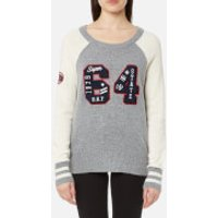 Superdry Women's Team SD Varsity Knitted Jumper - Lagacy Grey Marl - XS - Grey