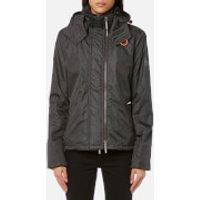Superdry Womens Print Hood Arctic Windcheater Jacket - Rich Khaki Herringbone/Black - M - Green