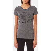 Superdry Womens Premium Goods RStne Entry T-Shirt - Dark Charcoal Marl - S - Grey