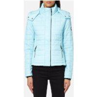 Superdry Women's Hooded Box Quilt Fuji Jacket - Aqua Mint Marl - L - Blue