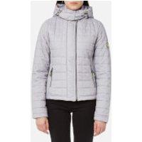 Superdry Womens Hooded Box Quilt Fuji Jacket - Grey Cloud Marl - L - Grey