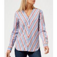 Maison-Kitsun-Womens-Striped-Dania-Collar-Shirt-Multi-UK-10-Multi