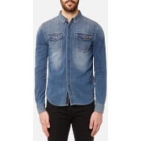 Superdry Mens Dragway Denim Long Sleeve Shirt - Sidewinder Herringbone - XL - Blue