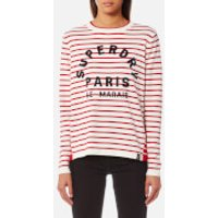 Superdry Womens Le Marais Stripe Knitted Top - Deep Red/Cream - M - Red
