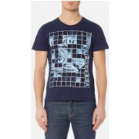 Versace Jeans Mens Square Print T-Shirt - Blu Avio - S - Blue