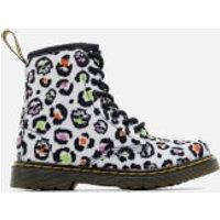 Dr. Martens Kids Delaney Leopard Canvas Lace Low Boots - White - UK 11 Kids - White