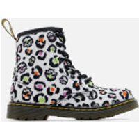 Dr. Martens Kids' Delaney Leopard Canvas Lace Low Boots - White - UK 12 Kids - White