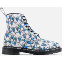 Dr. Martens Toddlers' Castel Canvas Finn Print Lace Low Boots - Blue/White - UK 6 Toddler - White