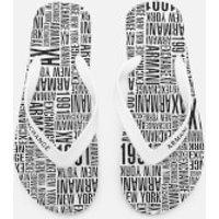 Armani Exchange Mens AX Flip Flops - Typography White - UK 7.5 - White