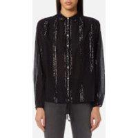 Maison Scotch Womens Sheer Cotton Lurex Tunic Top - Black - M - Black