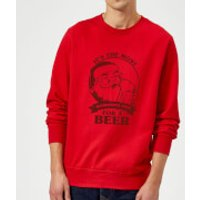 The Most Wonderful Time For A Beer Sweatshirt - Red - M - Red - Beer Gifts