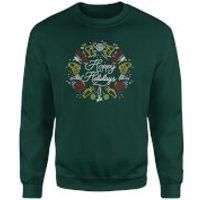 Hoppy Holidays Sweatshirt - Forest Green - L - Forest Green