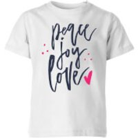 Peace Joy Love Kids' T-Shirt - White - 11-12 Years - White - Peace Gifts