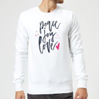 Peace Joy Love Sweatshirt - White - XXL - White - Peace Gifts