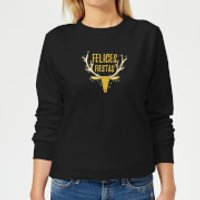 Felices Fiestas Reindeer Women's Sweatshirt - Black - XXL - Black - Reindeer Gifts