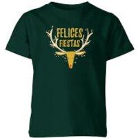 Felices Fiestas Reindeer Kids' T-Shirt - Forest Green - 3-4 Years - Forest Green - Reindeer Gifts