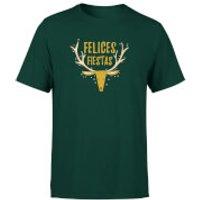 Felices Fiestas Reindeer T-Shirt - Forest Green - XXL - Forest Green