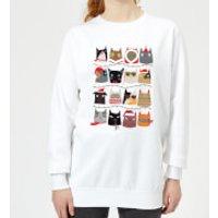 Christmas Cats Women's Sweatshirt - White - L - White