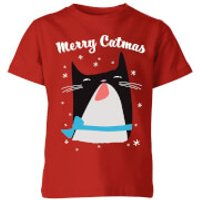 Merry Catmas Kids T-Shirt - Red - 3-4 Years - Red