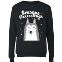 Seasons Grrreetings Womens Sweatshirt - Black - M - Black