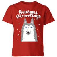 Seasons Grrreetings Kids T-Shirt - Red - 11-12 Years - Red