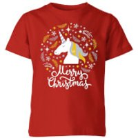 Unicorn Christmas Kids T-Shirt - Red - 11-12 Years - Red