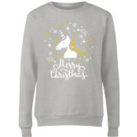 Unicorn Christmas Grey Ladies Sweatshirt - S - Grey