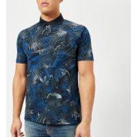 Armani Exchange Mens Printed Polo Shirt - Navy Jungle - L - Navy