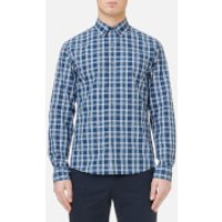 Michael Kors Mens Slim Fit Yarn Dyed Madras Check Shirt - Admiral Blue - S - Blue