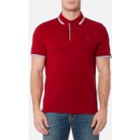 Michael Kors Mens Greenwich Logo Jacquard Polo Shirt - Ruby Red - XL - Red