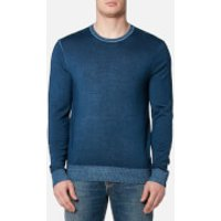 Michael Kors Mens Washed Merino Crew Neck Sweater - Admiral Blue - XL - Blue
